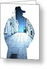 Man's Profile Silhouette With Old City Streets Greeting Card