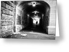 Man's Silhouette In Urban Tunnel Black And White Greeting Card
