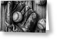 Many Baseballs In Black And White Greeting Card