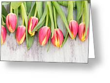 Many Spring Tulip Flowers On White Wood Table Greeting Card