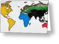 Map Digital Art World Greeting Card