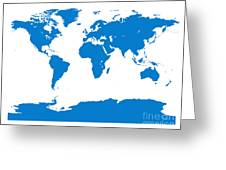 Map In Blue Greeting Card