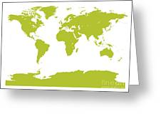 Map In Chartreuse Green Greeting Card