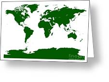 Map In Forest Green Greeting Card