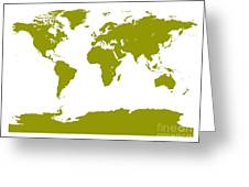 Map In Olive Green Greeting Card