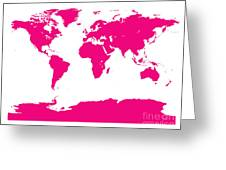 Map In Pink Greeting Card