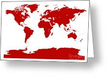 Map In Red Greeting Card