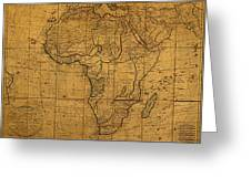 Map Of Africa Circa 1829 On Worn Canvas Greeting Card