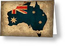 Map Of Australia With Flag Art On Distressed Worn Canvas Greeting Card