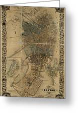 Map Of Boston 1852 Greeting Card
