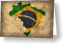 Map Of Brazil With Flag Art On Distressed Worn Canvas Greeting Card