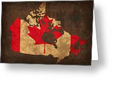 Map Of Canada With Flag Art On Distressed Worn Canvas Greeting Card