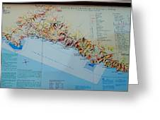 Map Of Cinque Terre Greeting Card
