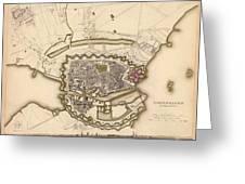 Map Of Copenhagen 1837 Greeting Card