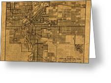 Map Of Denver Colorado City Street Railroad Schematic Cartography Circa 1903 On Worn Canvas Greeting Card