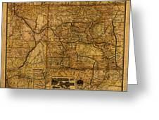 Map Of Denver Rio Grande Railroad System Including New Mexico Circa 1889 Greeting Card
