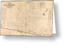 Map Of Detroit Greeting Card