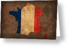 Map Of France With Flag Art On Distressed Worn Canvas Greeting Card by Design Turnpike