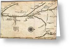Map Of French Discoveries In America 1673 Greeting Card