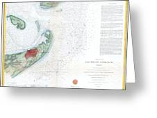 Map Of Galveston City And Harbor Texas Greeting Card