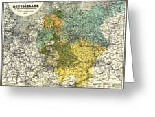 Map Of Germany 1861 Greeting Card
