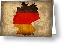 Map Of Germany With Flag Art On Distressed Worn Canvas Greeting Card