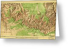 Map Of Grand Canyon National Park Greeting Card