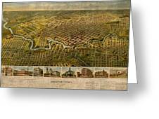 Map Of Houston Texas Circa 1891 On Worn Distressed Canvas Greeting Card