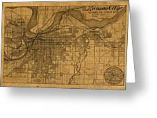 Map Of Kansas City Missouri Vintage Old Street Cartography On Worn Distressed Canvas Greeting Card