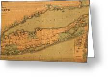 Map Of Long Island 1888 Greeting Card