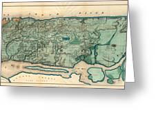 Map Of Manhattan Greeting Card