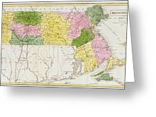 Map Of Massachusetts, From Historical Collections Of Massachusetts, By John Warren Barber, 1839 Greeting Card
