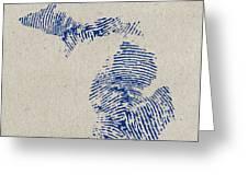 Map of michigan great lake state fingerprint art poster by design map of michigan great lake state fingerprint art greeting card m4hsunfo