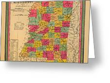 Map Of Mississippi 1850 Greeting Card