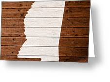 Map Of Mississippi State Outline White Distressed Paint On Reclaimed Wood Planks. Greeting Card
