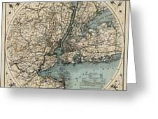 Map Of New York 1891 Greeting Card