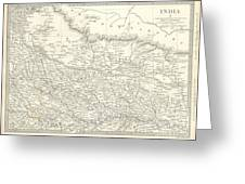 Map Of North India Nepal And Allahabad Greeting Card