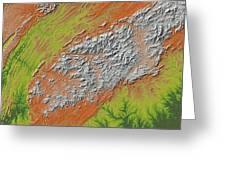 Map Of Southern Appalachia Greeting Card
