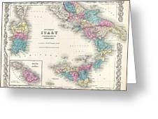 Map Of Southern Italy Sicily Sardinia And Malta Greeting Card