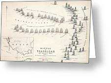 Map Of The Battle Of Trafalgar Greeting Card