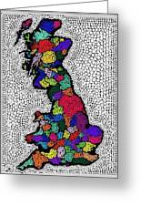 Map Of The Uk Decorative Greeting Card