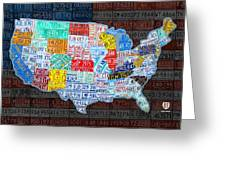 Map Of The United States In Vintage License Plates On American Flag Greeting Card by Design Turnpike