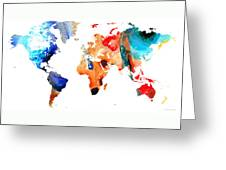 Map Of The World 8 -colorful Abstract Art Greeting Card