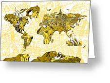 Map Of The World Collage  Greeting Card