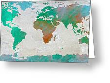 Map Of The World - Colors Of Earth And Water Greeting Card