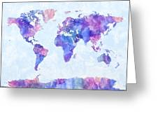 Map Of The World Map Watercolor Painting Greeting Card by Michael Tompsett