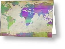 Map Of The World - Plaid Watercolor Splatter Greeting Card