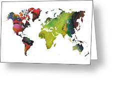 Map Of The World Red Green Greeting Card