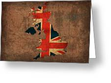 Map Of United Kingdom With Flag Art On Distressed Worn Canvas Greeting Card by Design Turnpike