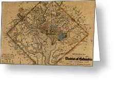 Map Of Washington 1862 Greeting Card
